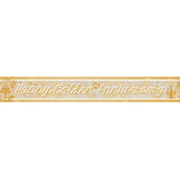 Happy Golden Anniversary Holographic Foil Banner